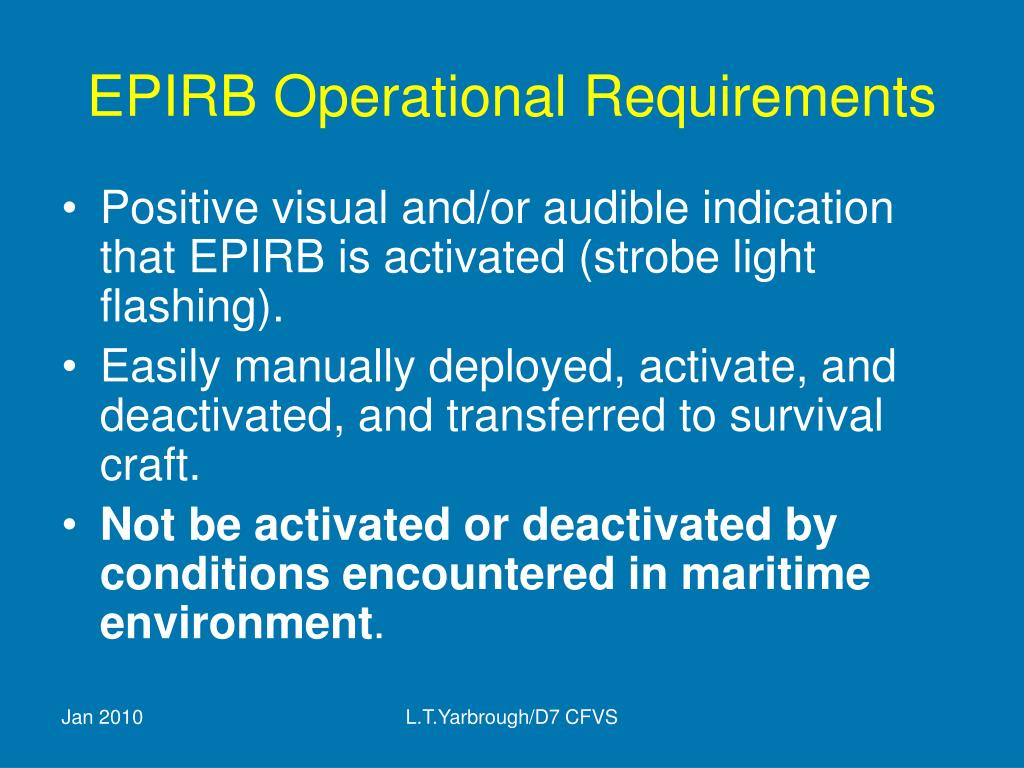 EPIRB Operational Requirements