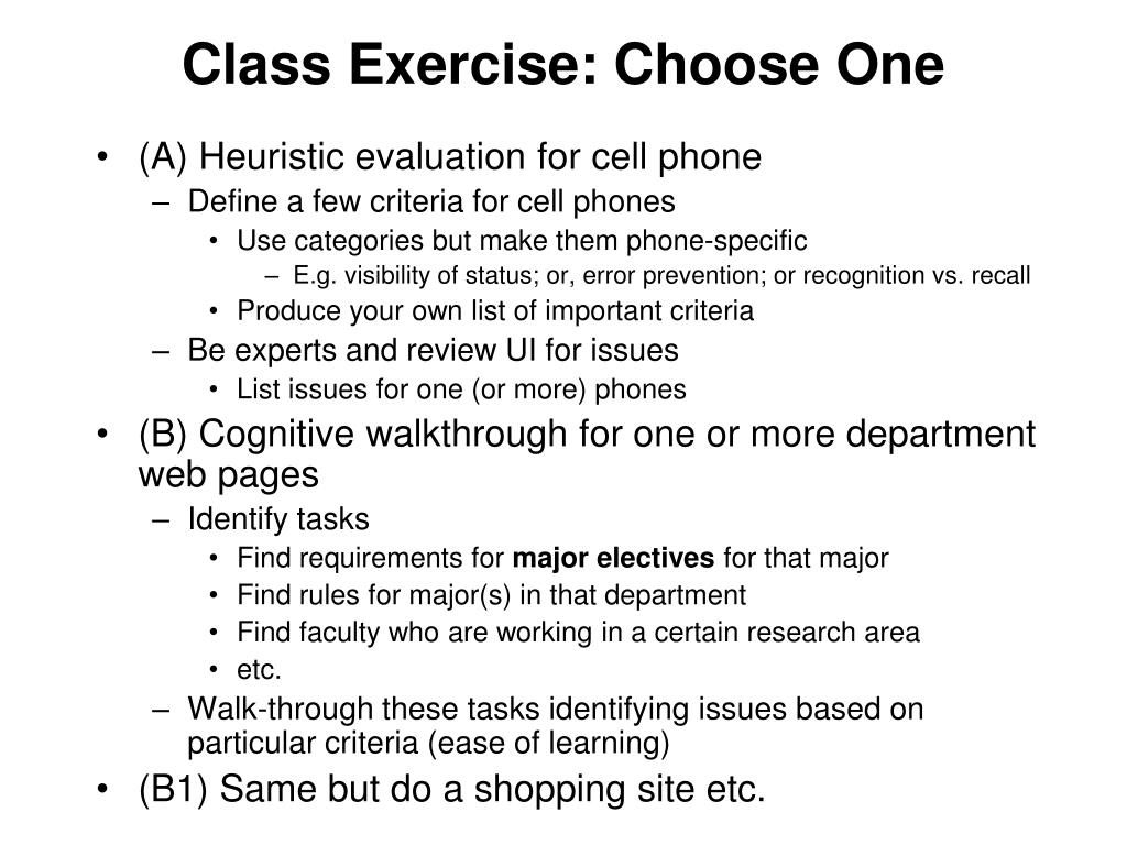 Class Exercise: Choose One