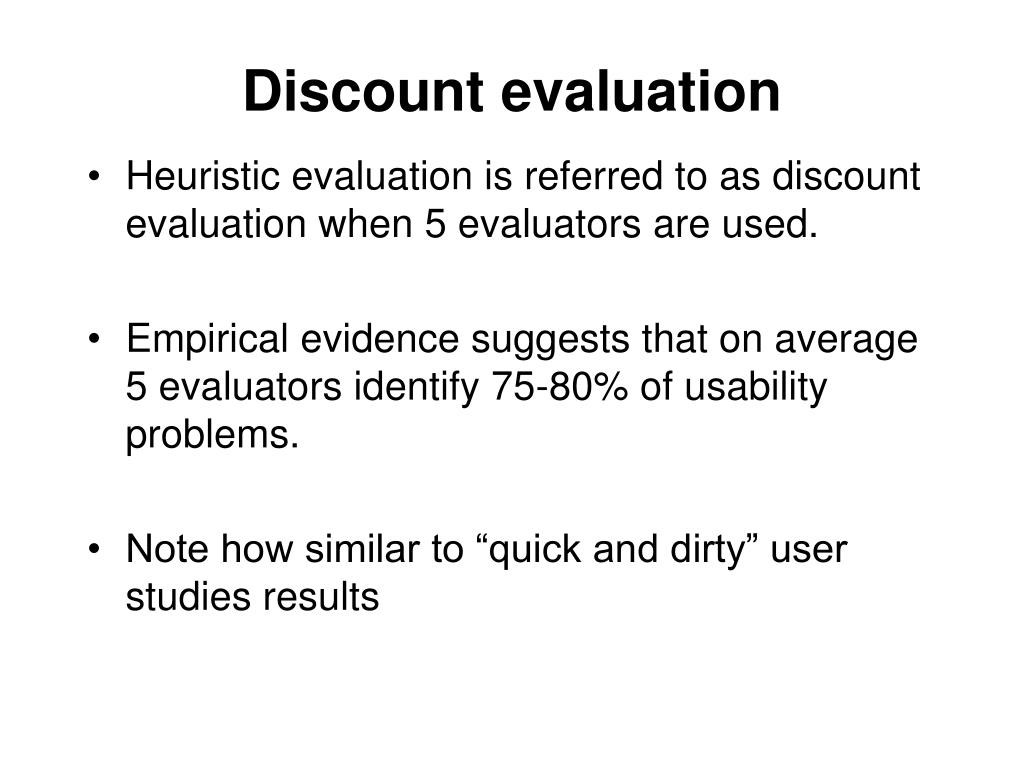 Discount evaluation