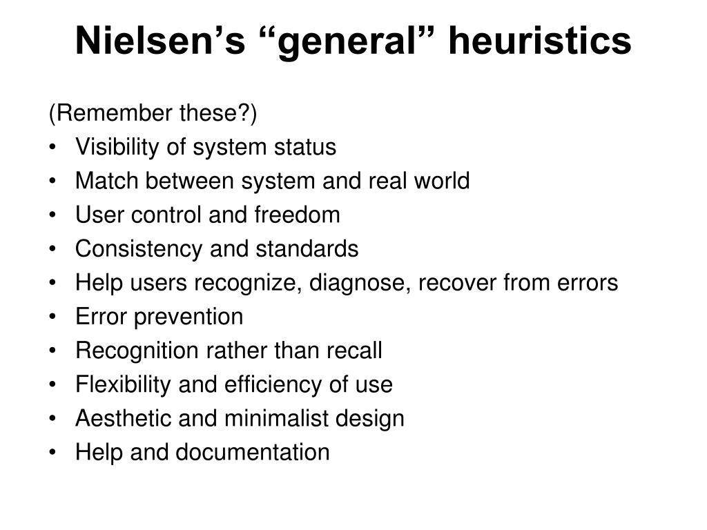 """Nielsen's """"general"""" heuristics"""