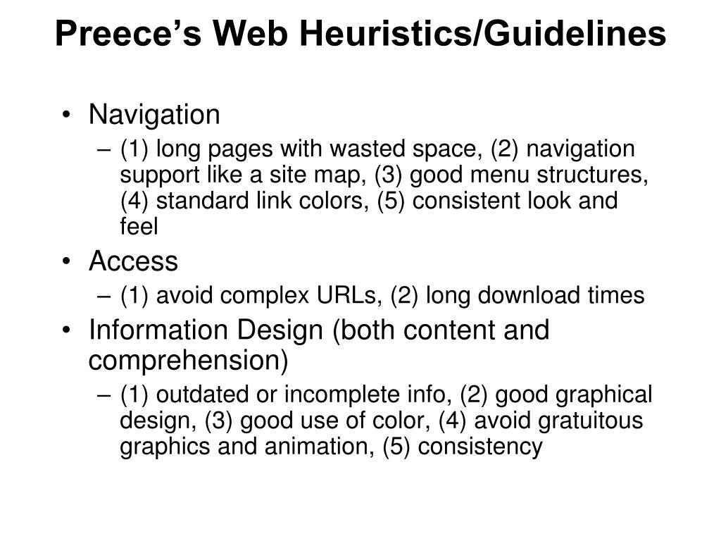 Preece's Web Heuristics/Guidelines