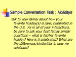 sample conversation task holidays