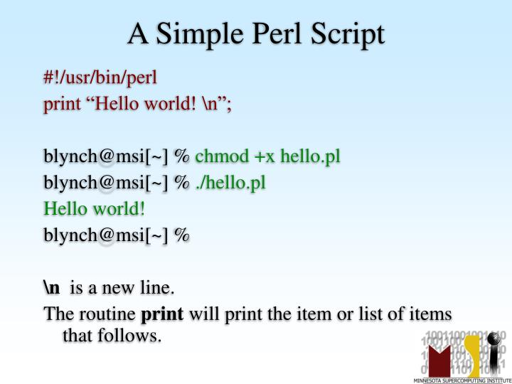 A Simple Perl Script
