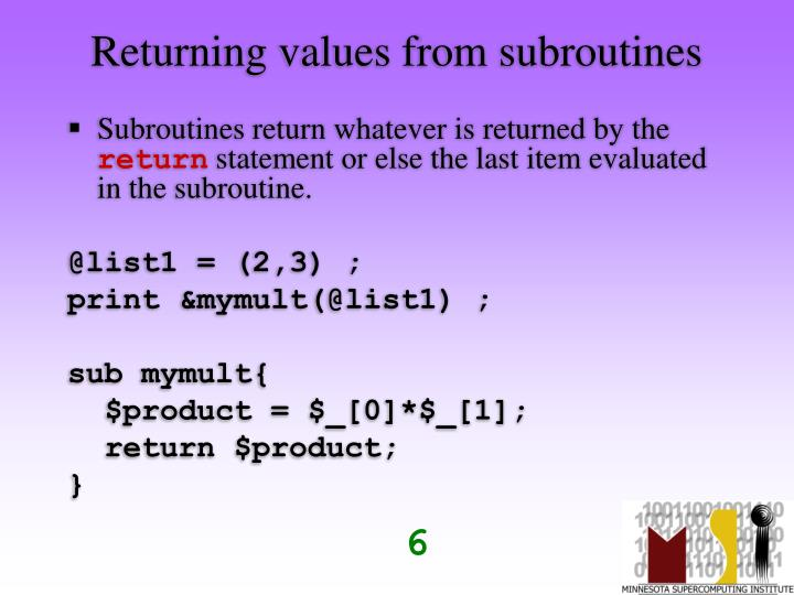 Returning values from subroutines