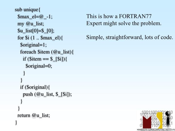 This is how a FORTRAN77