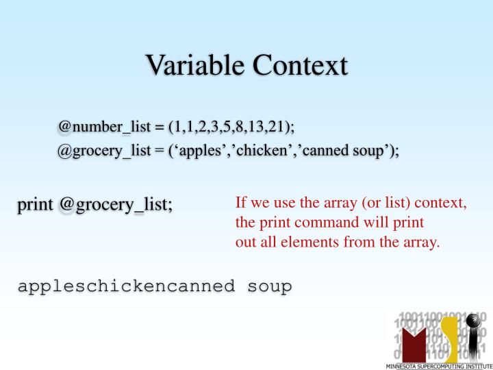 Variable Context
