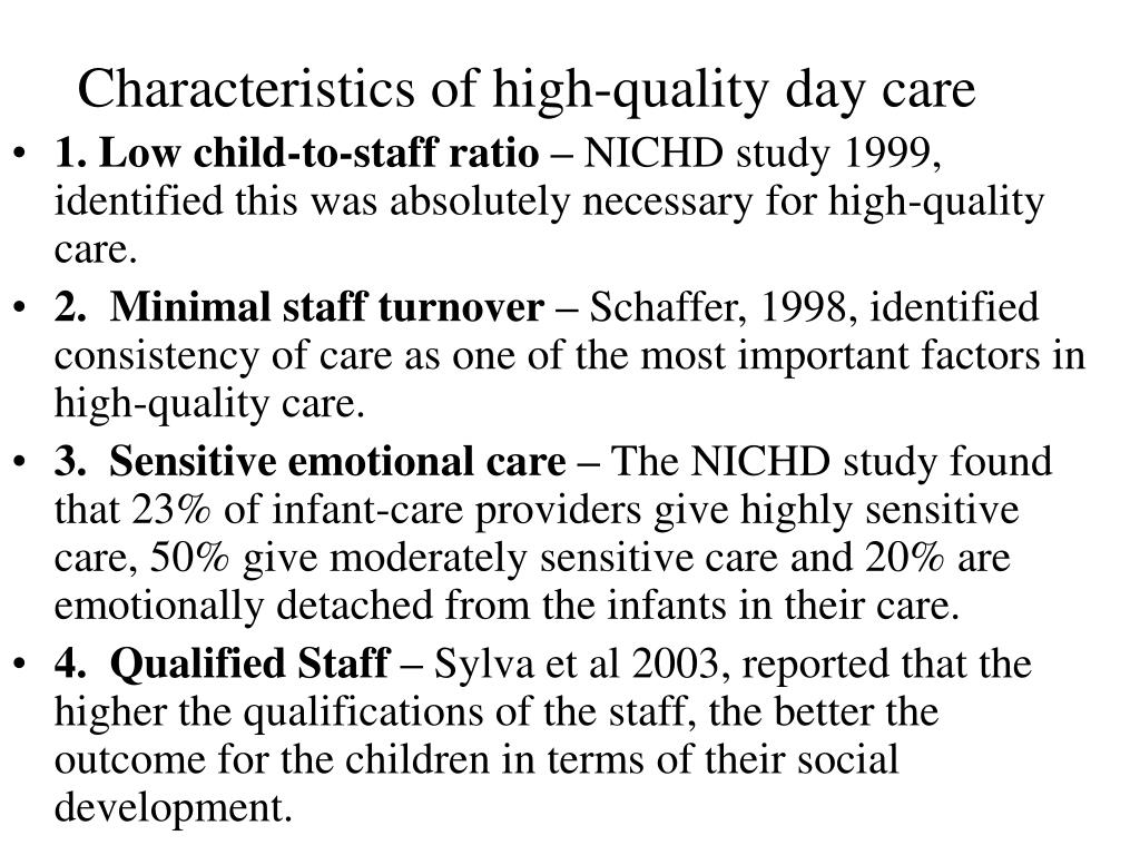 Characteristics of high-quality day care