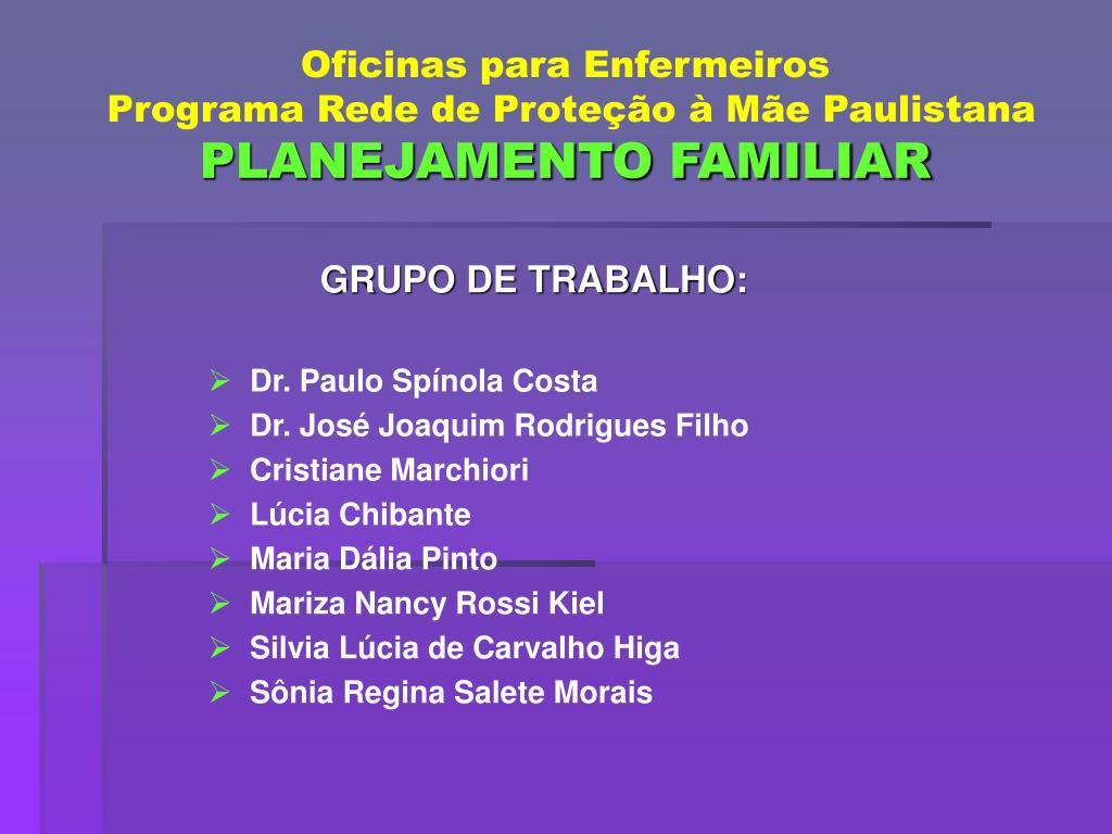 GRUPO DE TRABALHO: