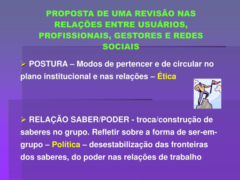 PROPOSTA DE UMA REVISÃO NAS RELAÇÕES ENTRE USUÁRIOS, PROFISSIONAIS, GESTORES E REDES SOCIAIS