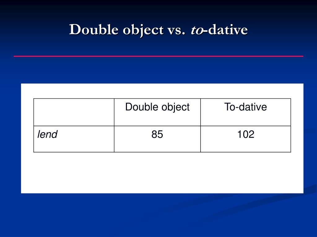 Double object vs.