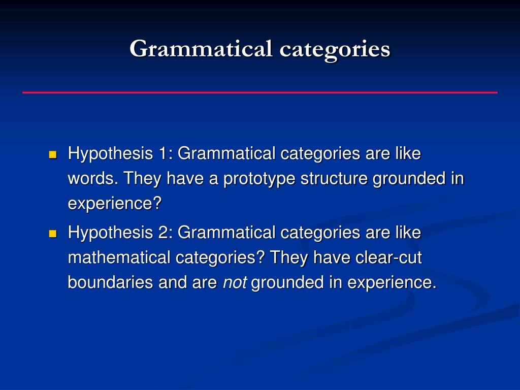 Grammatical categories