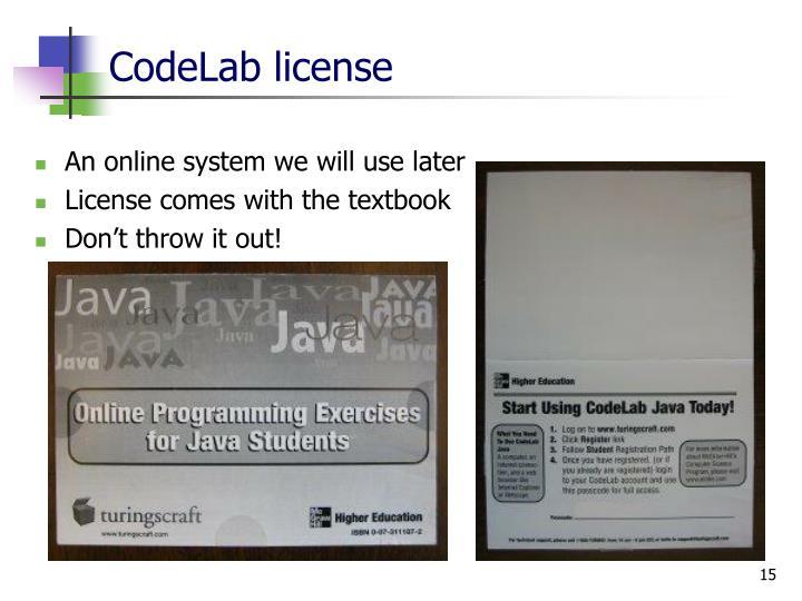 CodeLab license