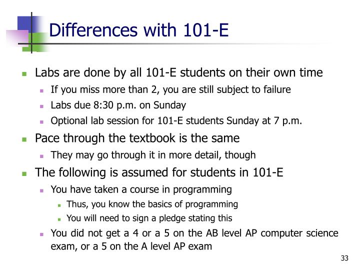 Differences with 101-E