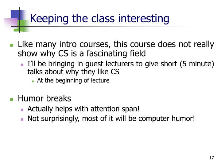 Keeping the class interesting