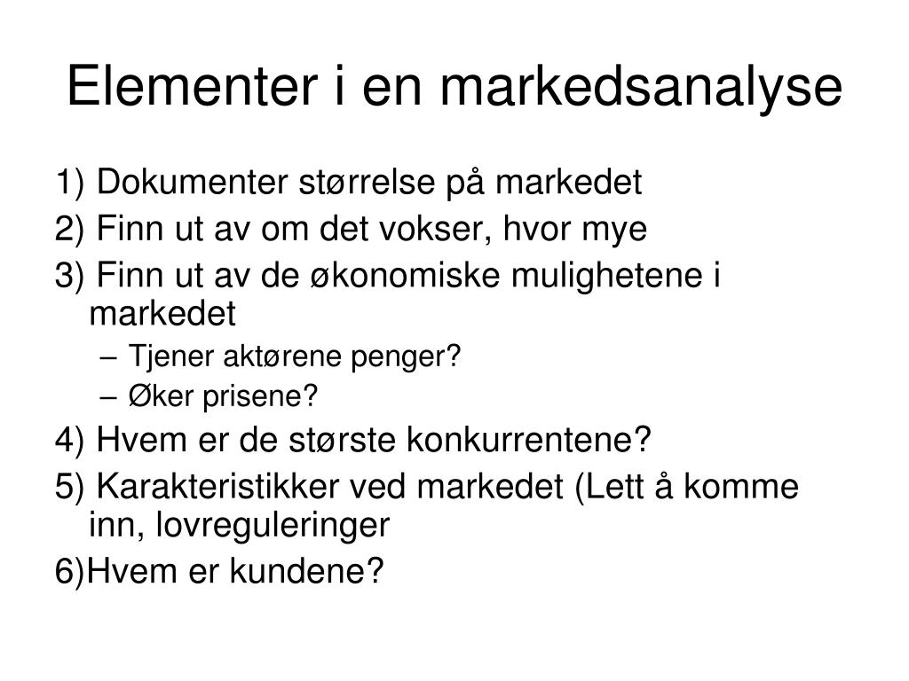 Elementer i en markedsanalyse