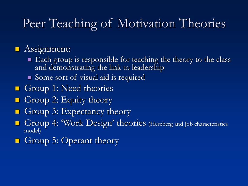 Peer Teaching of Motivation Theories