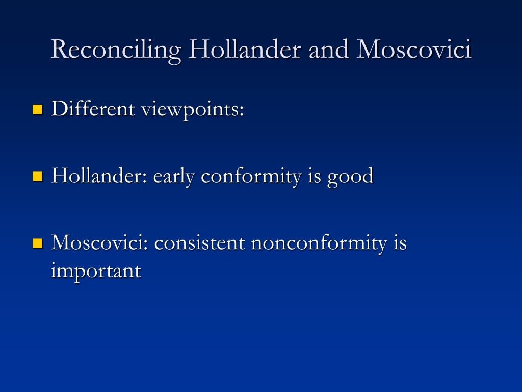 Reconciling Hollander and Moscovici