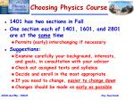 choosing physics course