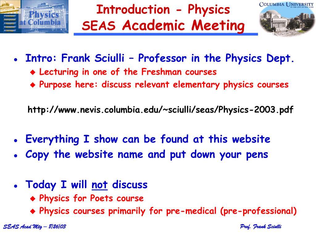 introduction physics seas academic meeting