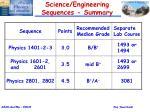science engineering sequences summary