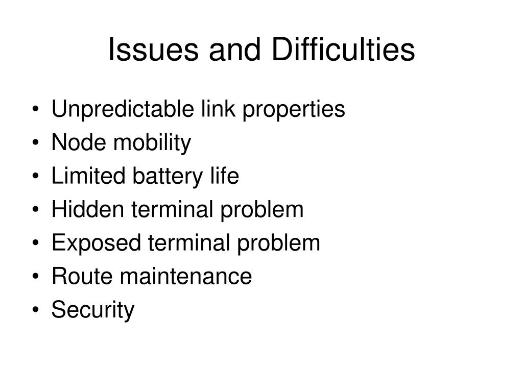 Issues and Difficulties