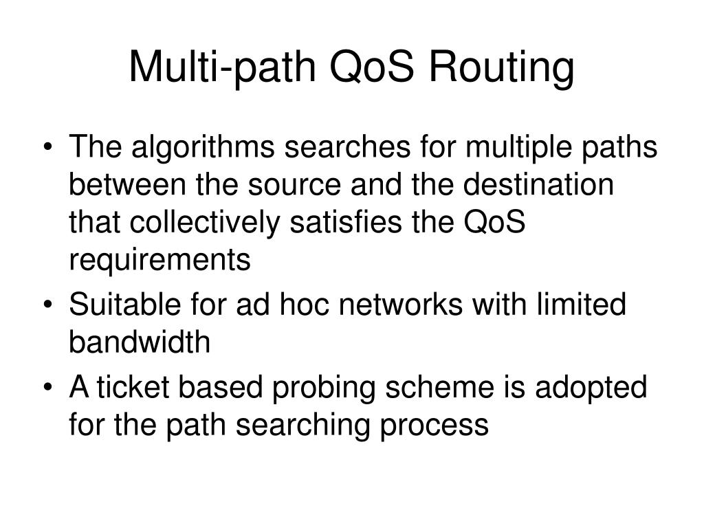 Multi-path QoS Routing