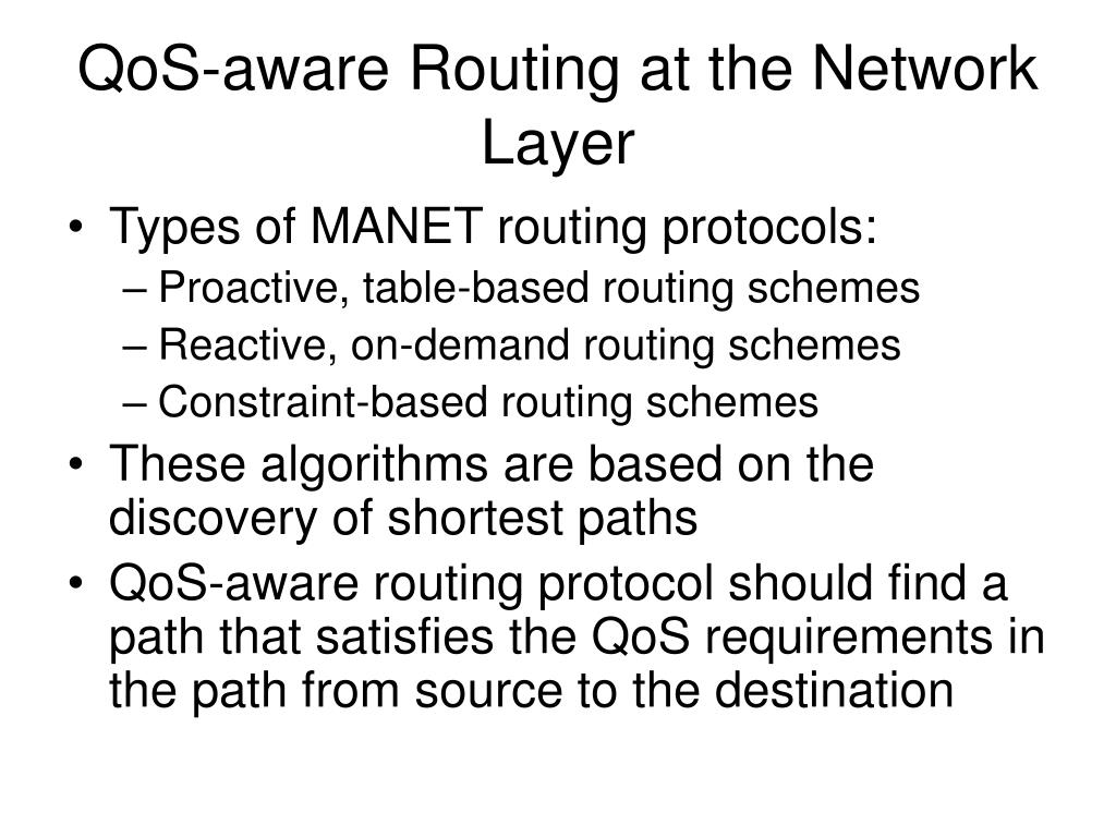 QoS-aware Routing at the Network Layer