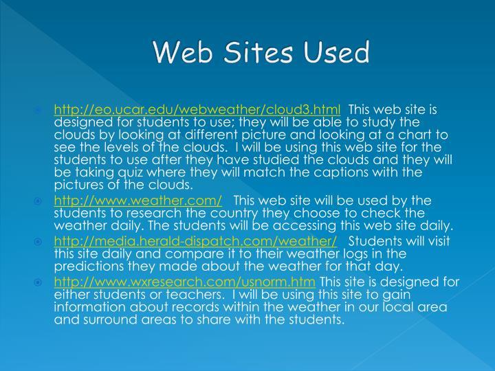 Web Sites Used