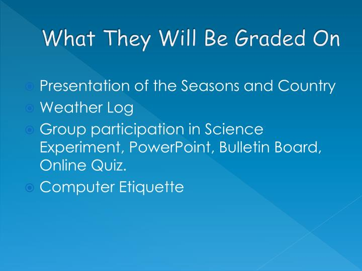 What They Will Be Graded On