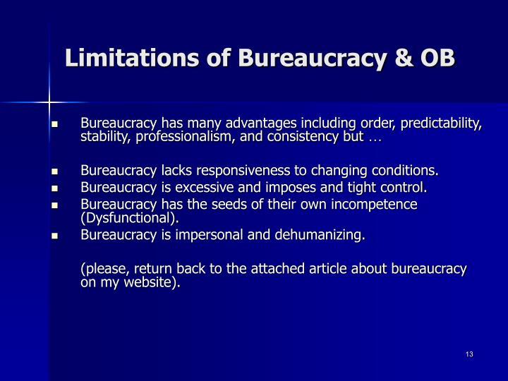 Limitations of Bureaucracy & OB