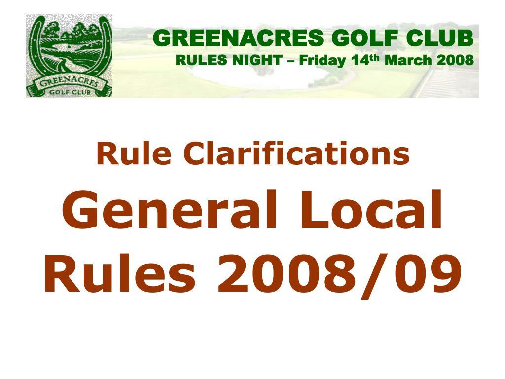 Rule Clarifications