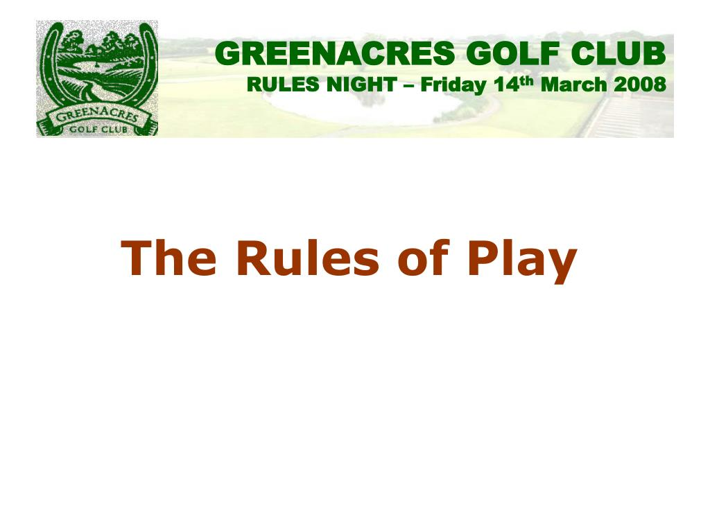 The Rules of Play