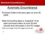 automatic encumbrance