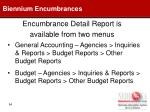 encumbrance detail report is available from two menus