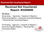 received not vouchered report r5509699