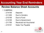 review balance sheet accounts