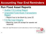 run fixed asset reports