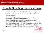 trouble shooting encumbrances