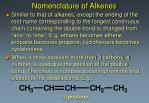 nomenclature of alkenes