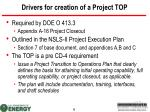 drivers for creation of a project top