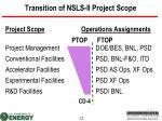 transition of nsls ii project scope
