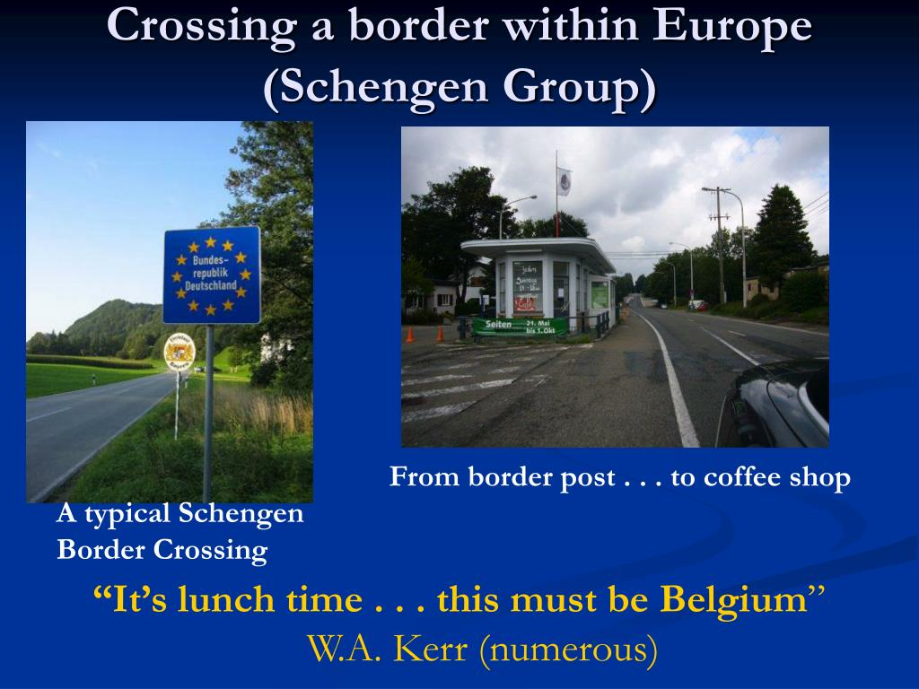 Crossing a border within Europe (Schengen Group)