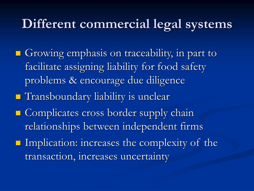 Different commercial legal systems