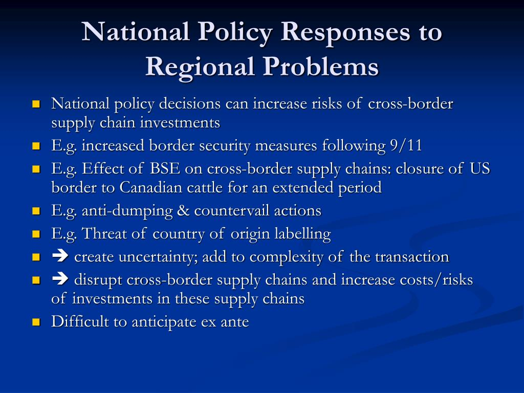 National Policy Responses to Regional Problems