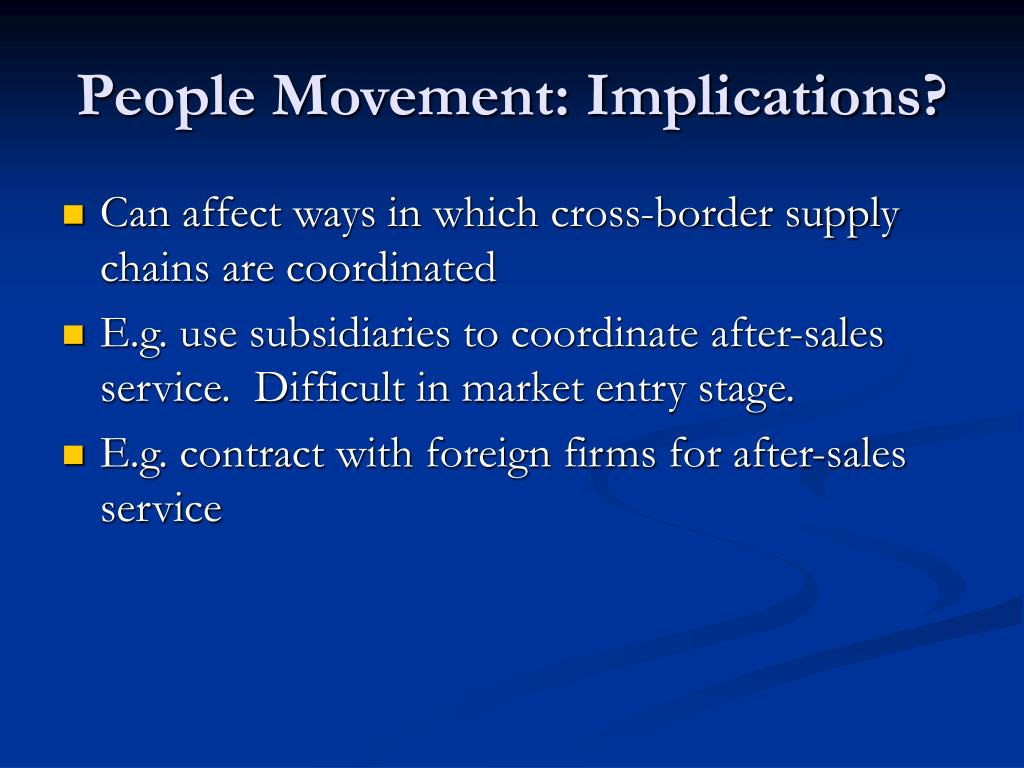 People Movement: Implications?