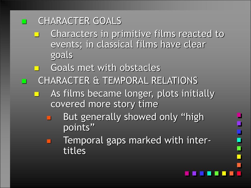 CHARACTER GOALS