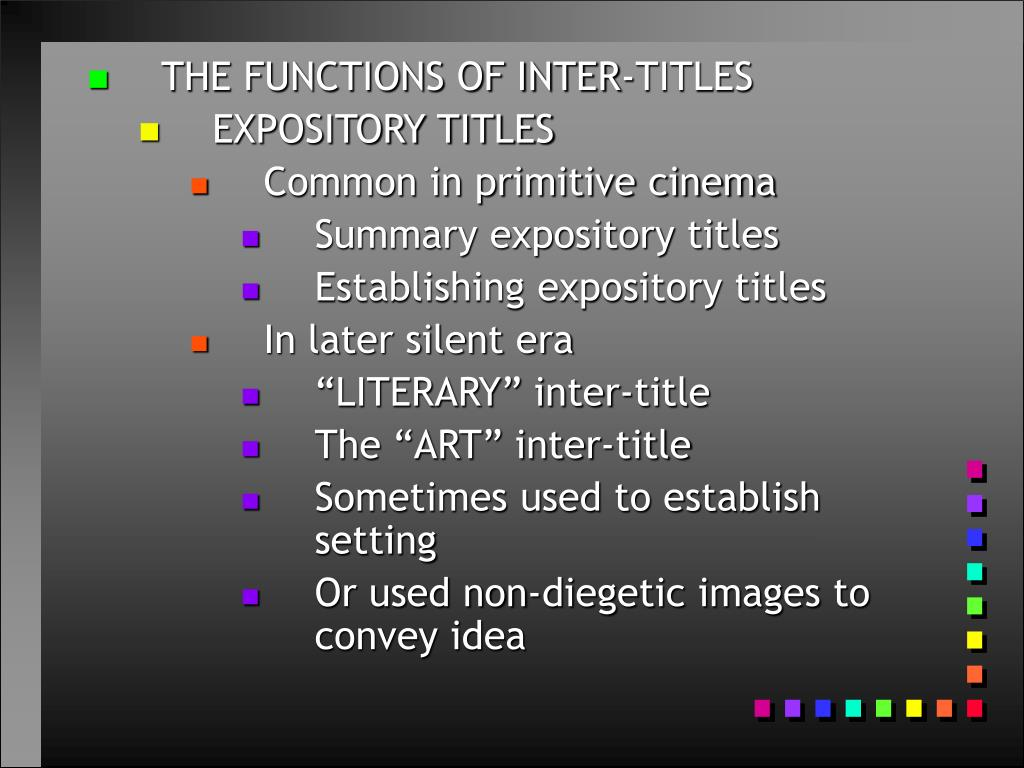 THE FUNCTIONS OF INTER-TITLES