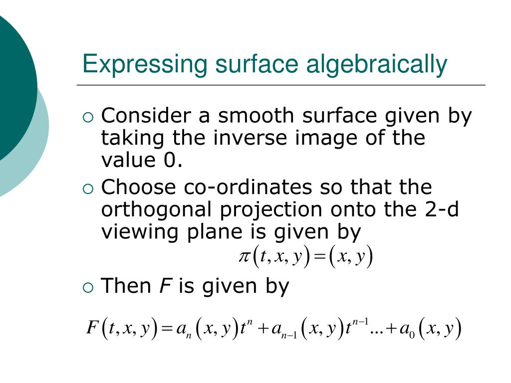 Expressing surface algebraically