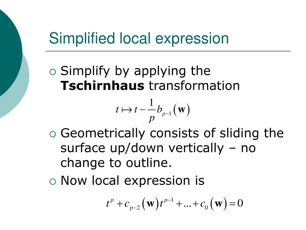 Simplified local expression