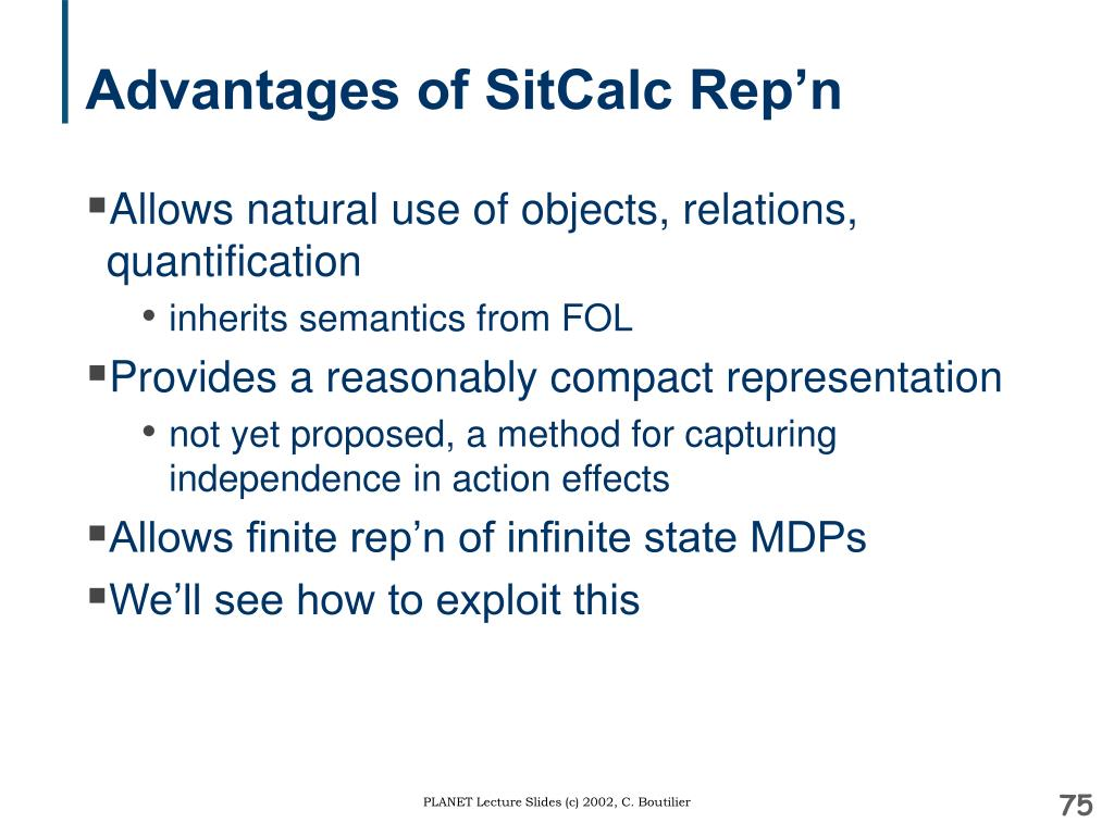 Advantages of SitCalc Rep'n